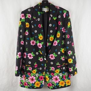 Saks Fifth Avenue Women's Blazer Jacket Floral 10